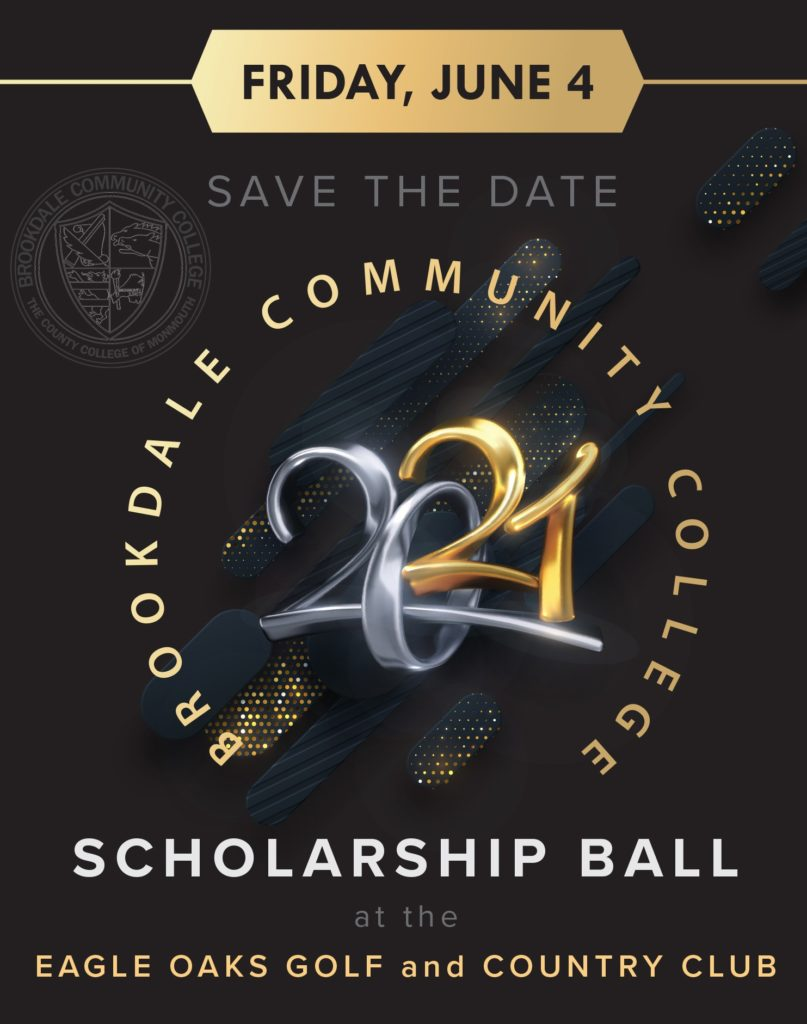 Scholarship Ball Save the Date with 2021 in silver and gold